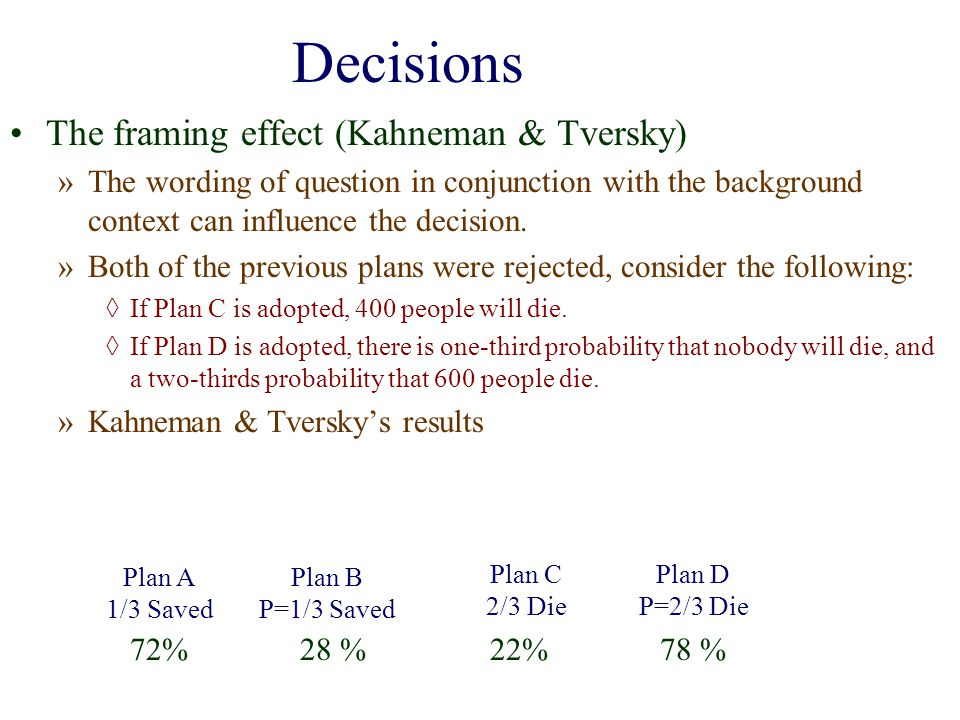 Decisions The framing effect (Kahneman & Tversky)
