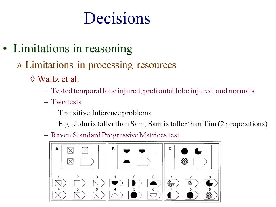 Decisions Limitations in reasoning Limitations in processing resources