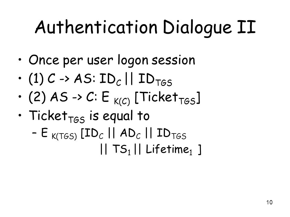 Authentication Dialogue II