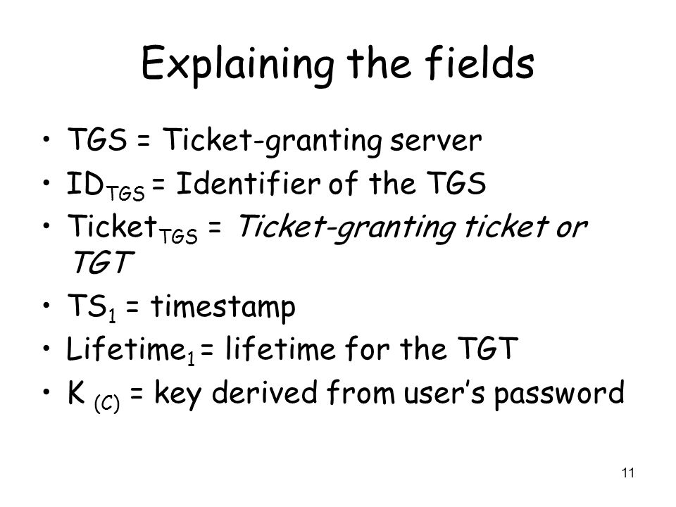Explaining the fields TGS = Ticket-granting server
