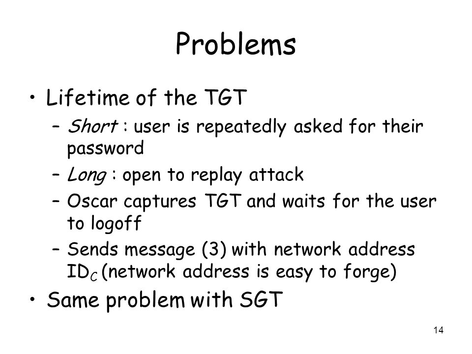 Problems Lifetime of the TGT Same problem with SGT