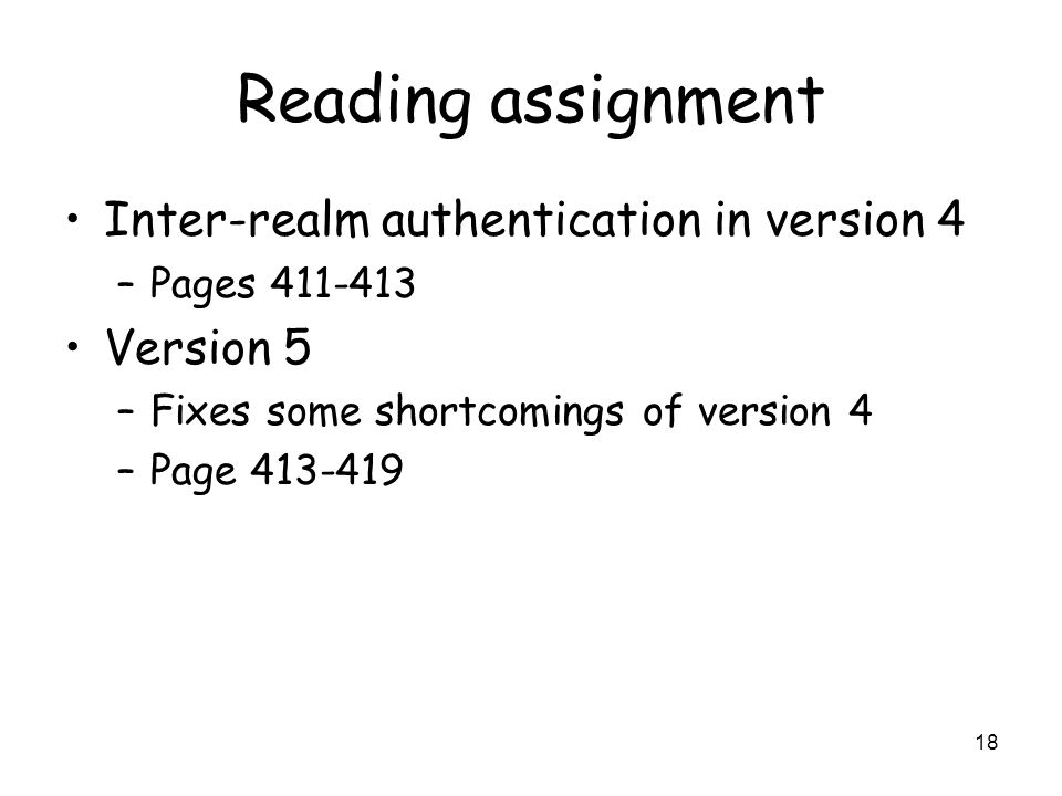 Reading assignment Inter-realm authentication in version 4 Version 5