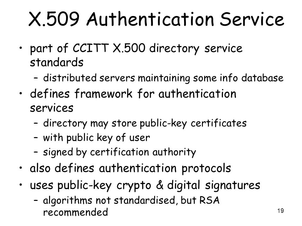X.509 Authentication Service
