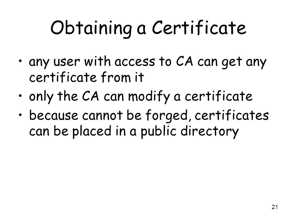 Obtaining a Certificate