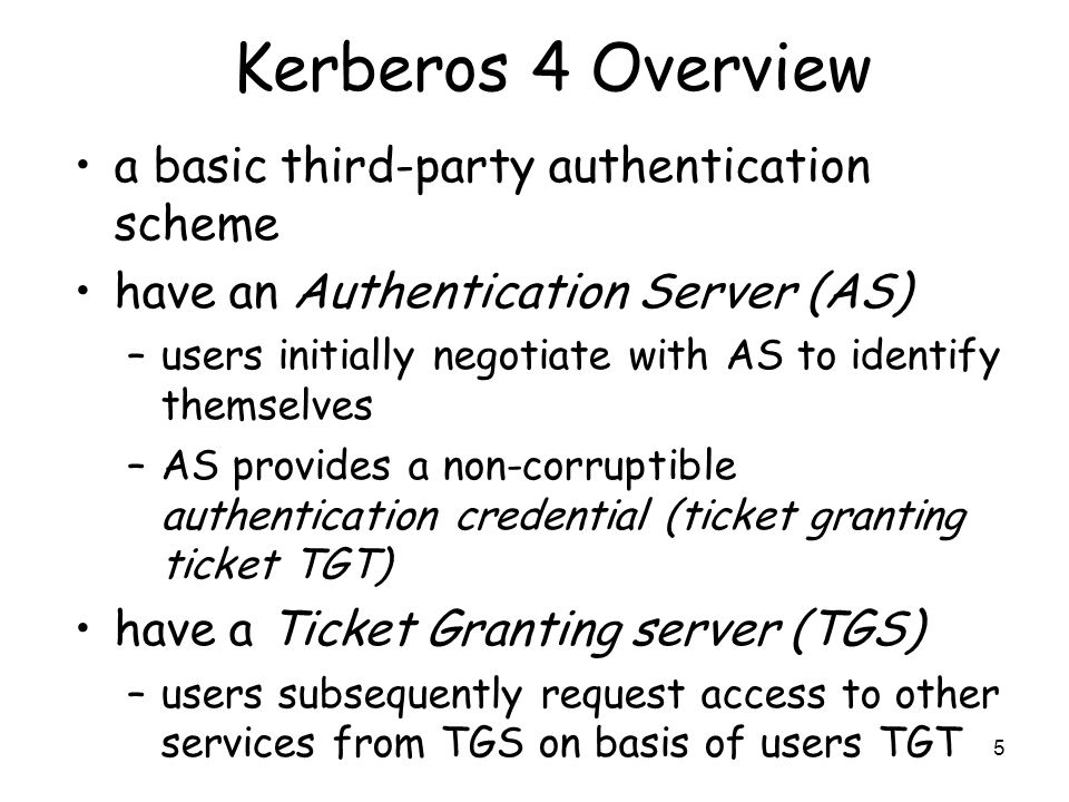 Kerberos 4 Overview a basic third-party authentication scheme