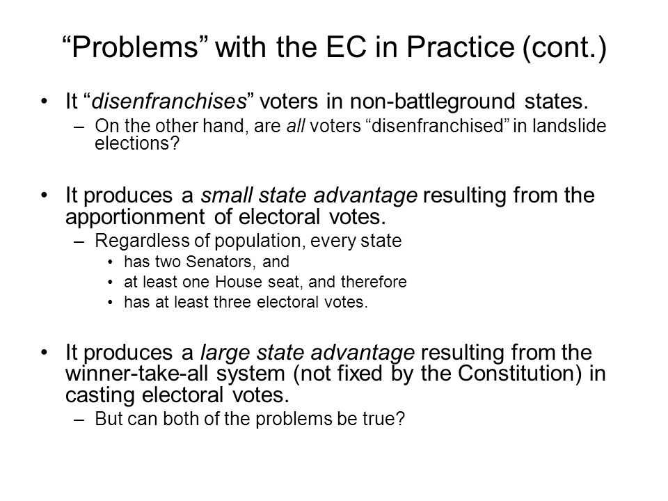 Problems with the EC in Practice (cont.)