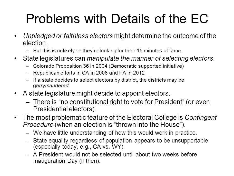 Problems with Details of the EC