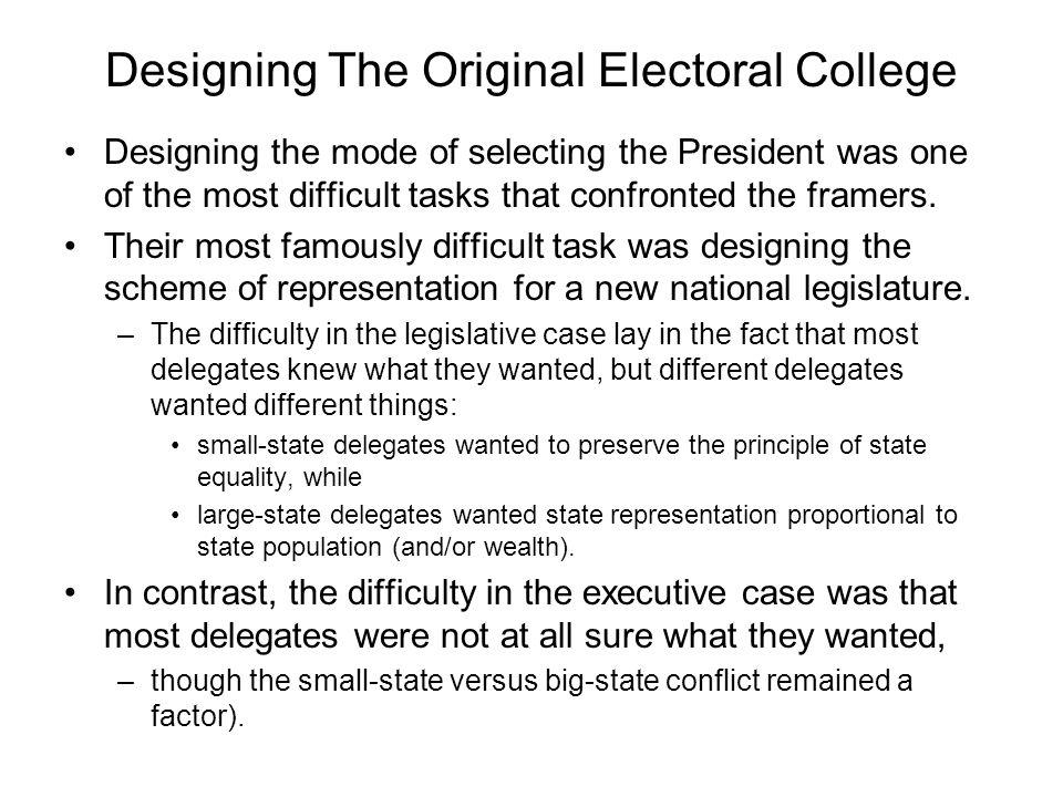 Designing The Original Electoral College