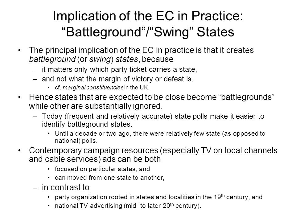 Implication of the EC in Practice: Battleground / Swing States