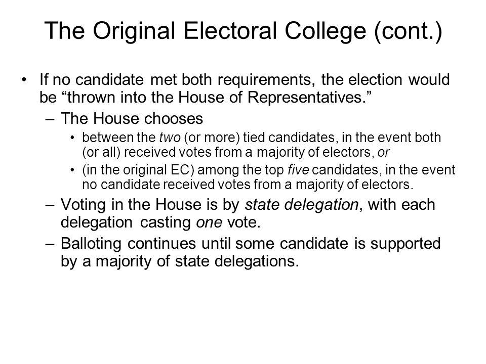 The Original Electoral College (cont.)
