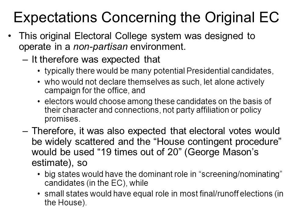 Expectations Concerning the Original EC