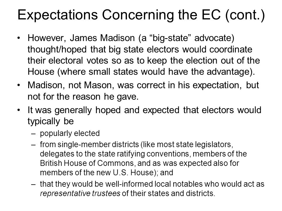 Expectations Concerning the EC (cont.)