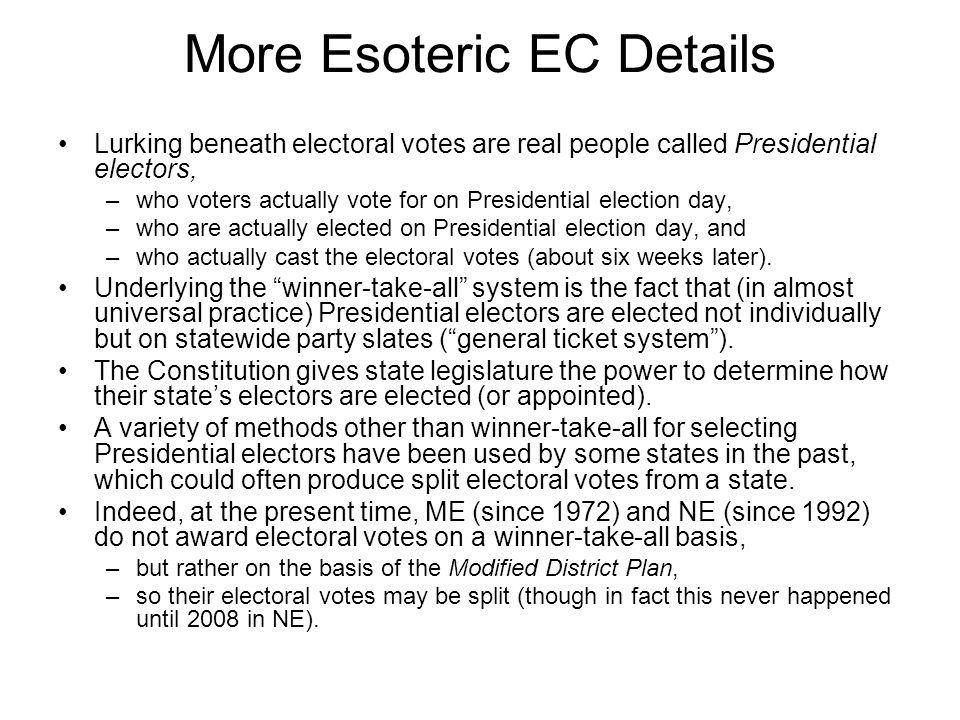 More Esoteric EC Details