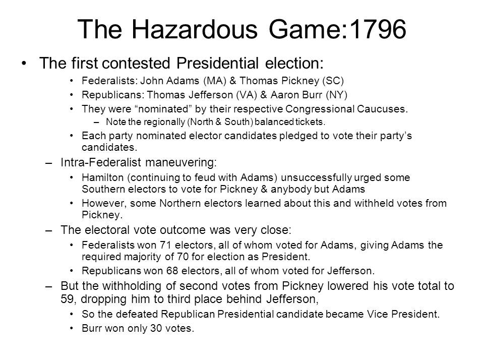 The Hazardous Game:1796 The first contested Presidential election: