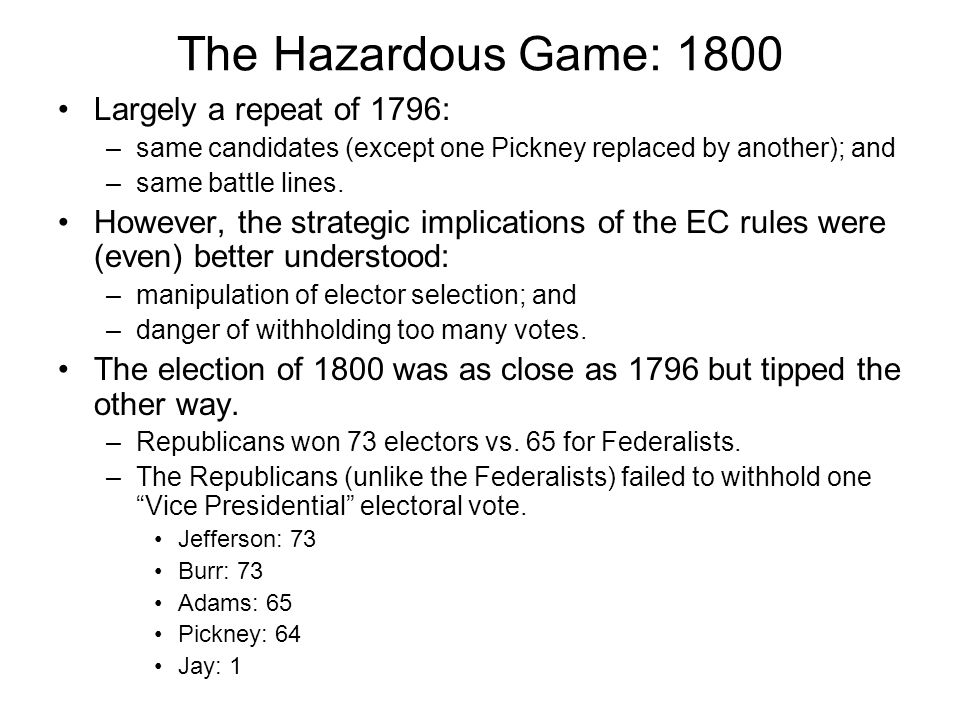 The Hazardous Game: 1800 Largely a repeat of 1796: