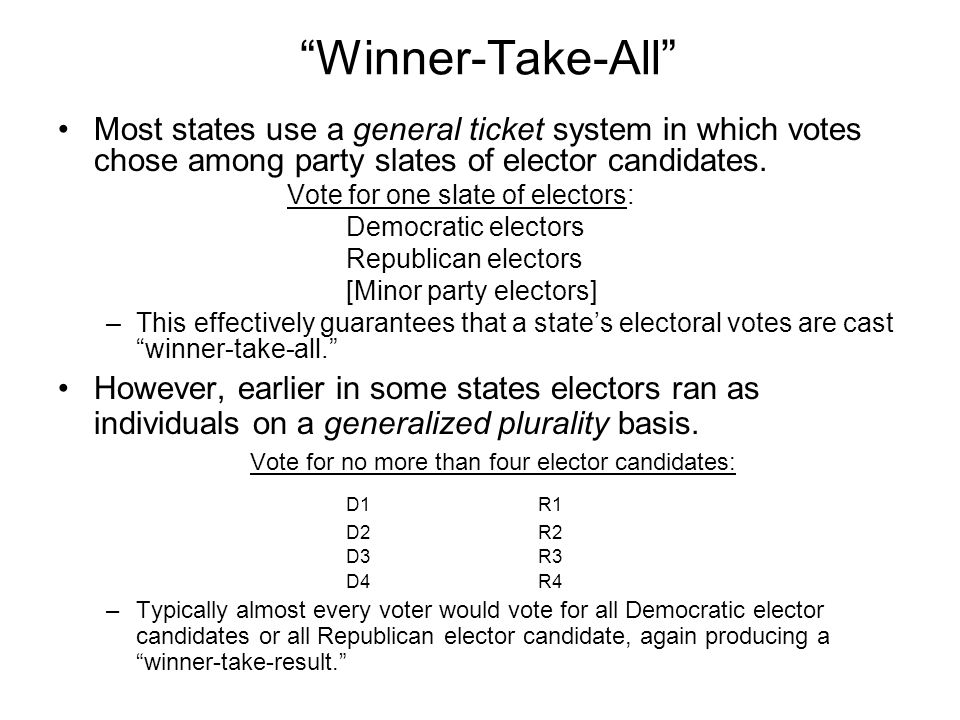 Winner-Take-All Most states use a general ticket system in which votes chose among party slates of elector candidates.