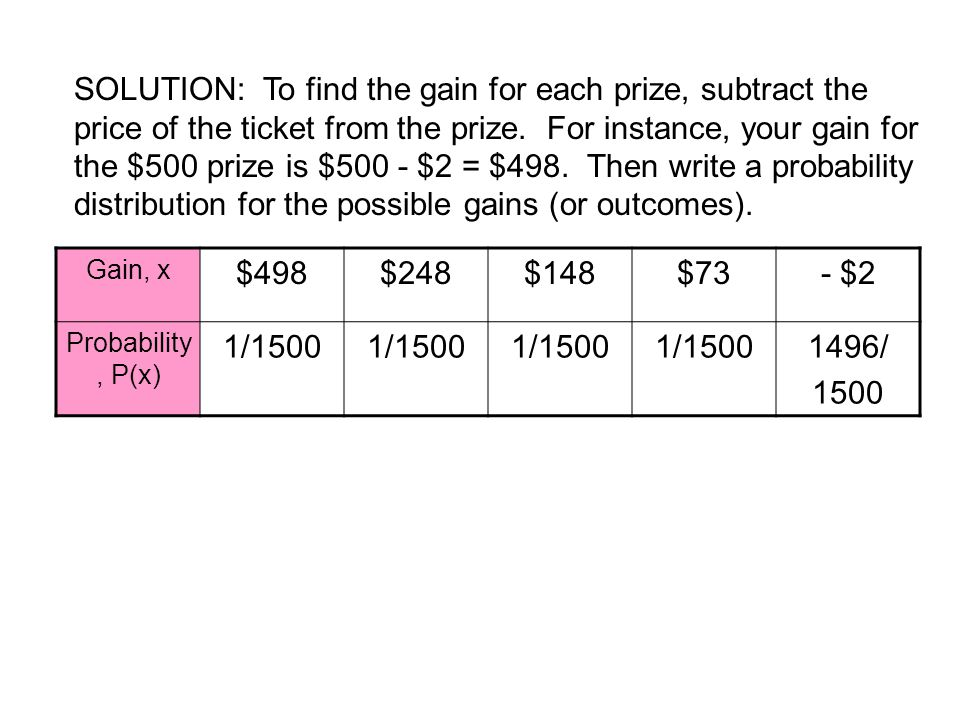 SOLUTION: To find the gain for each prize, subtract the price of the ticket from the prize. For instance, your gain for the $500 prize is $500 - $2 = $498. Then write a probability distribution for the possible gains (or outcomes).
