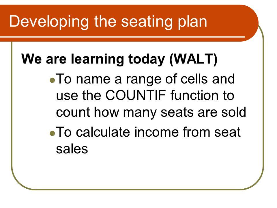 Developing the seating plan