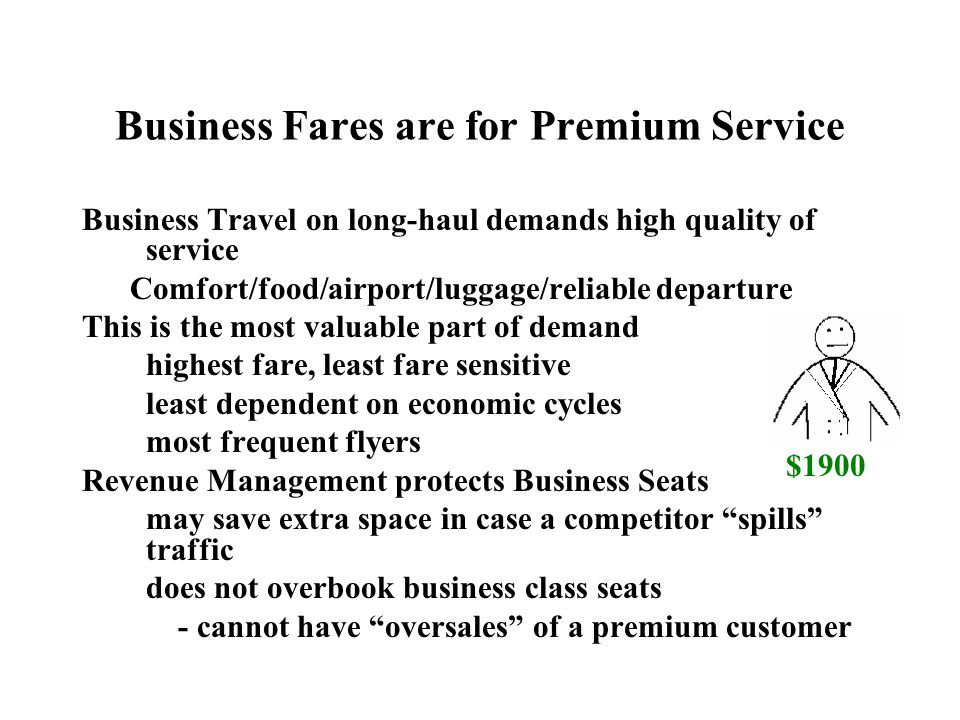 Business Fares are for Premium Service