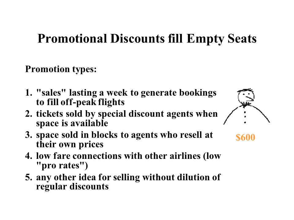 Promotional Discounts fill Empty Seats