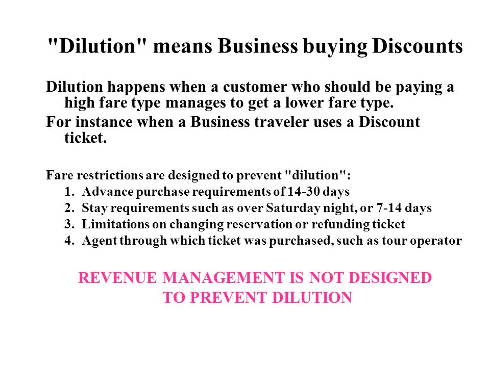 Dilution means Business buying Discounts