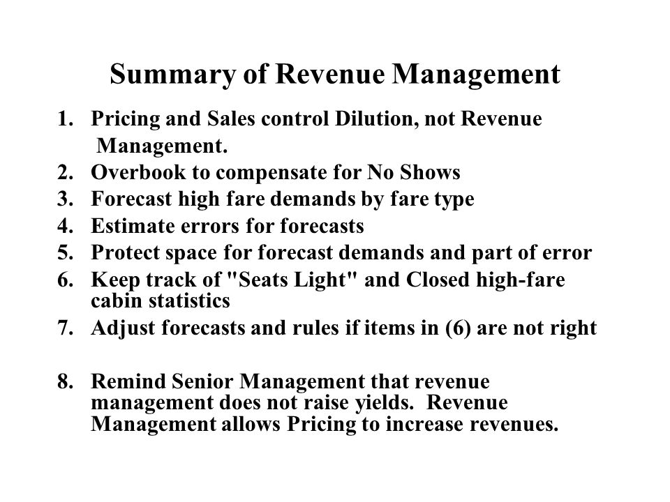 Summary of Revenue Management