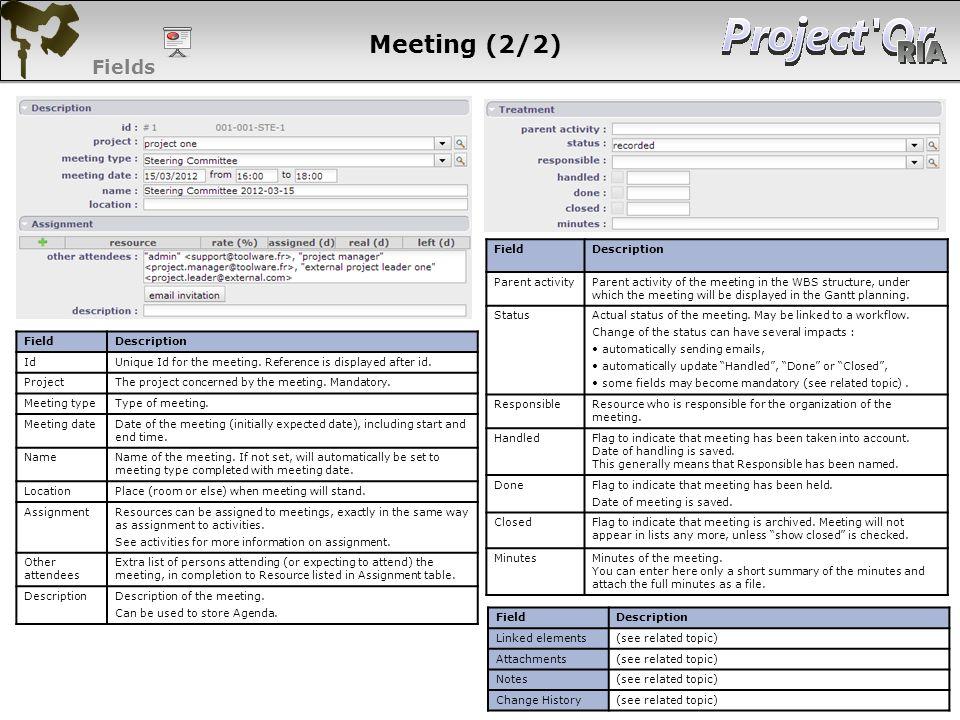 Meeting (2/2) Fields 101 101 101 101 Field Description Parent activity