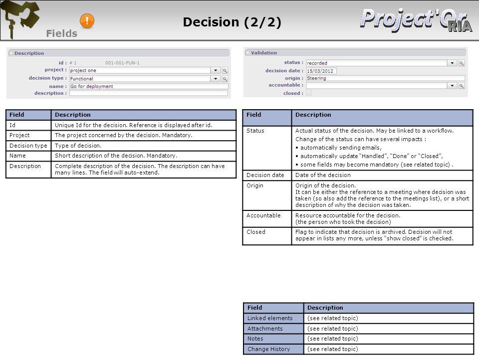 Decision (2/2) Fields 105 105 105 105 Field Description Id