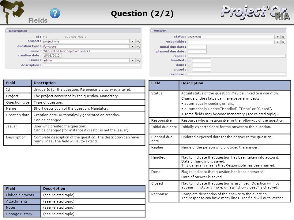 Question (2/2) Fields 107 107 107 107 Field Description Id
