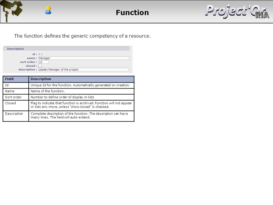 Function The function defines the generic competency of a resource.