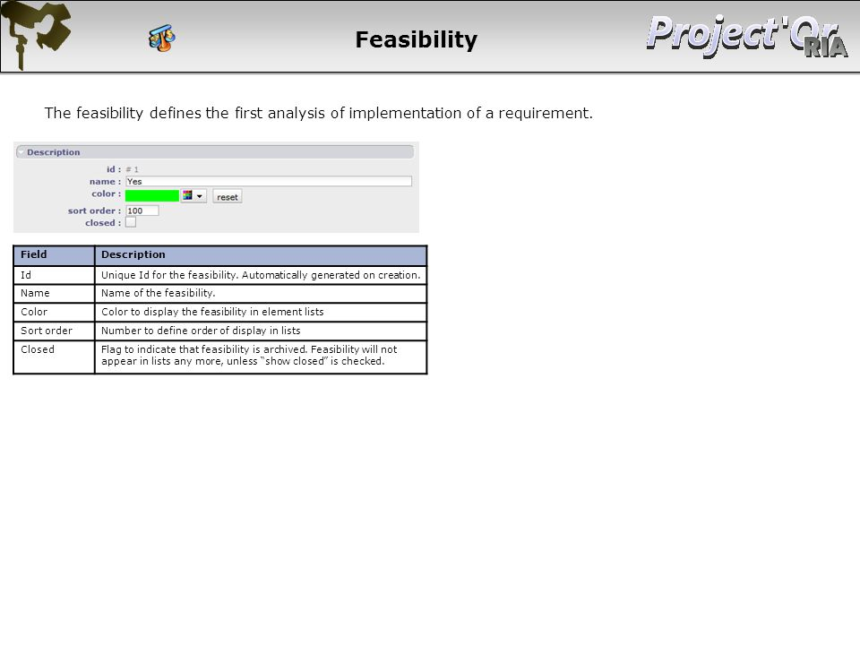 Feasibility The feasibility defines the first analysis of implementation of a requirement. Field. Description.