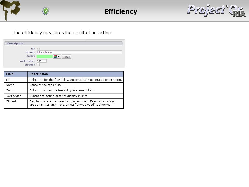 Efficiency The efficiency measures the result of an action