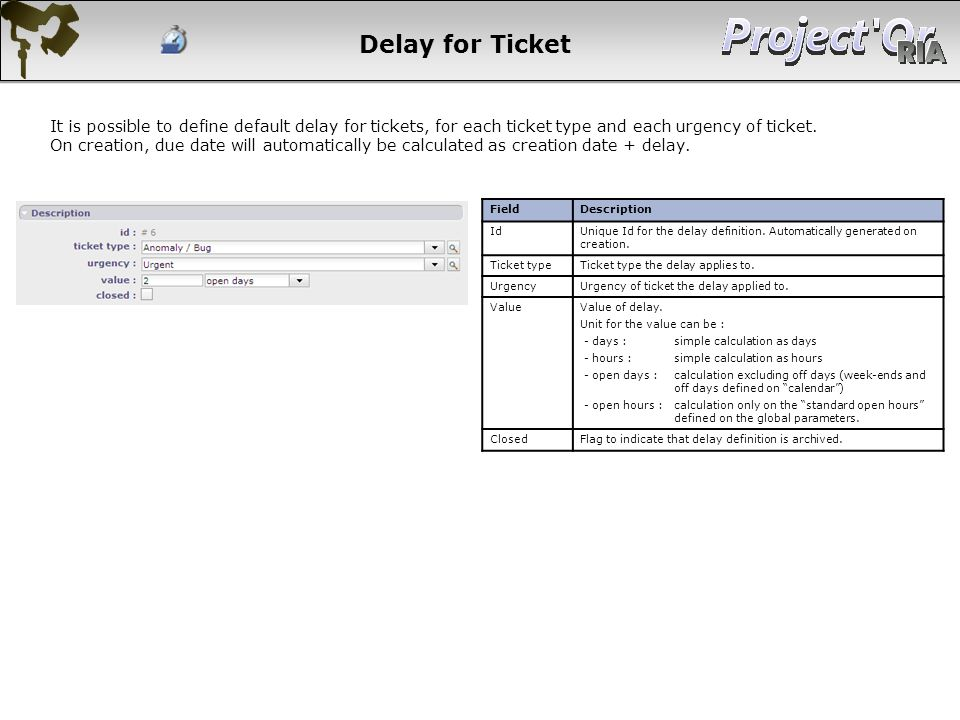Delay for Ticket It is possible to define default delay for tickets, for each ticket type and each urgency of ticket.