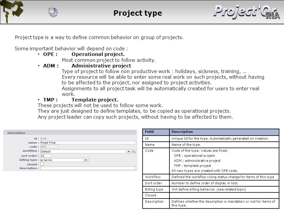 Project type Project type is a way to define common behavior on group of projects. Some important behavior will depend on code :