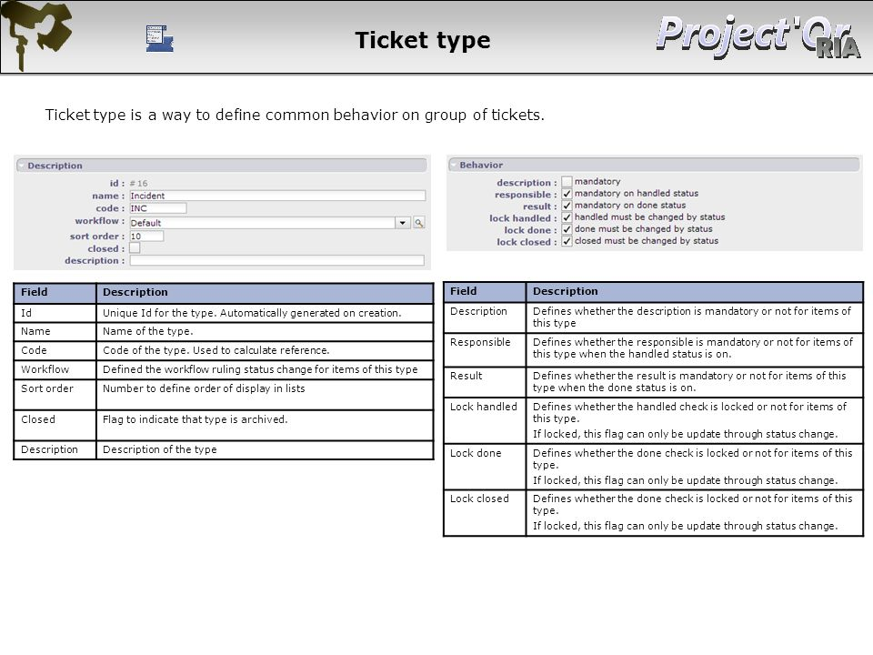 Ticket type Ticket type is a way to define common behavior on group of tickets. Field. Description.