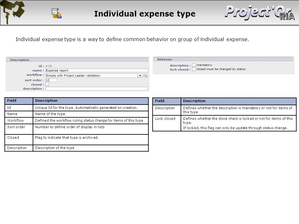 Individual expense type