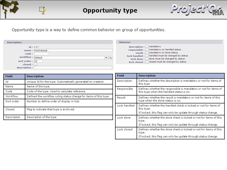 Opportunity type Opportunity type is a way to define common behavior on group of opportunities. Field.