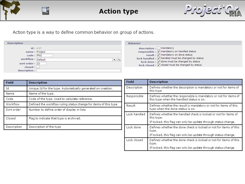 Action type Action type is a way to define common behavior on group of actions. Field. Description.