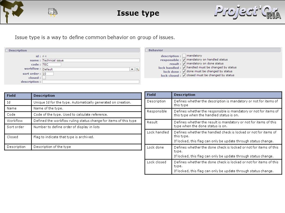Issue type Issue type is a way to define common behavior on group of issues. Field. Description. Id.