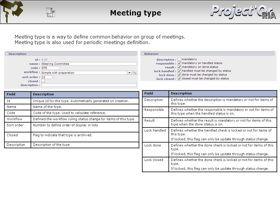 Meeting type Meeting type is a way to define common behavior on group of meetings. Meeting type is also used for periodic meetings definition.
