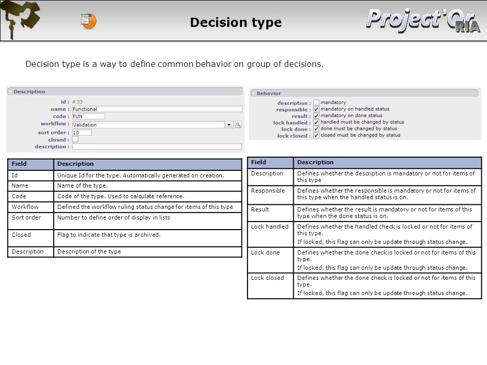 Decision type Decision type is a way to define common behavior on group of decisions. Field. Description.