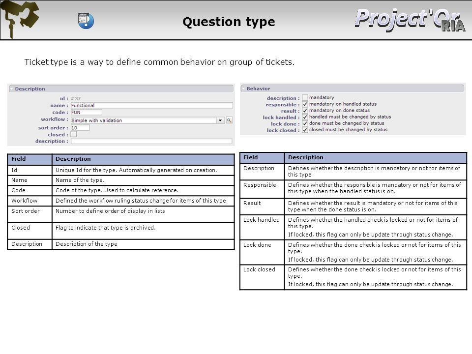 Question type Ticket type is a way to define common behavior on group of tickets. Field. Description.