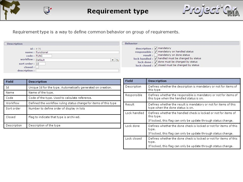 Requirement type Requirement type is a way to define common behavior on group of requirements. Field.