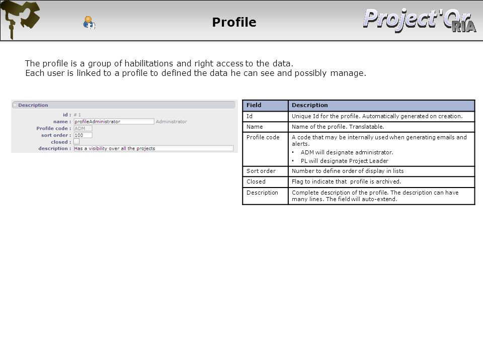 Profile The profile is a group of habilitations and right access to the data.