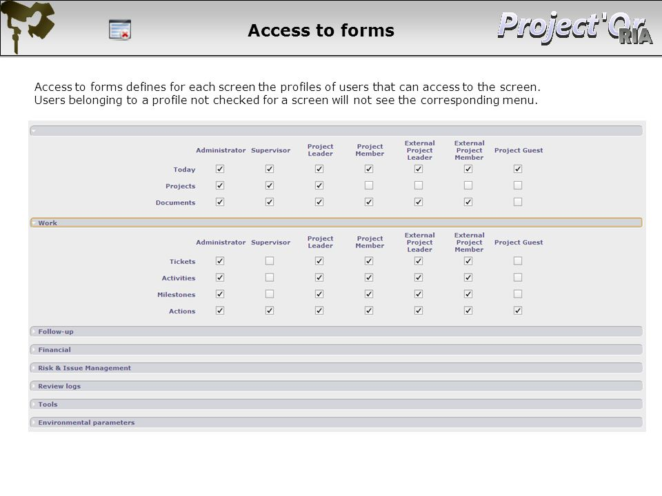 Access to forms Access to forms defines for each screen the profiles of users that can access to the screen.