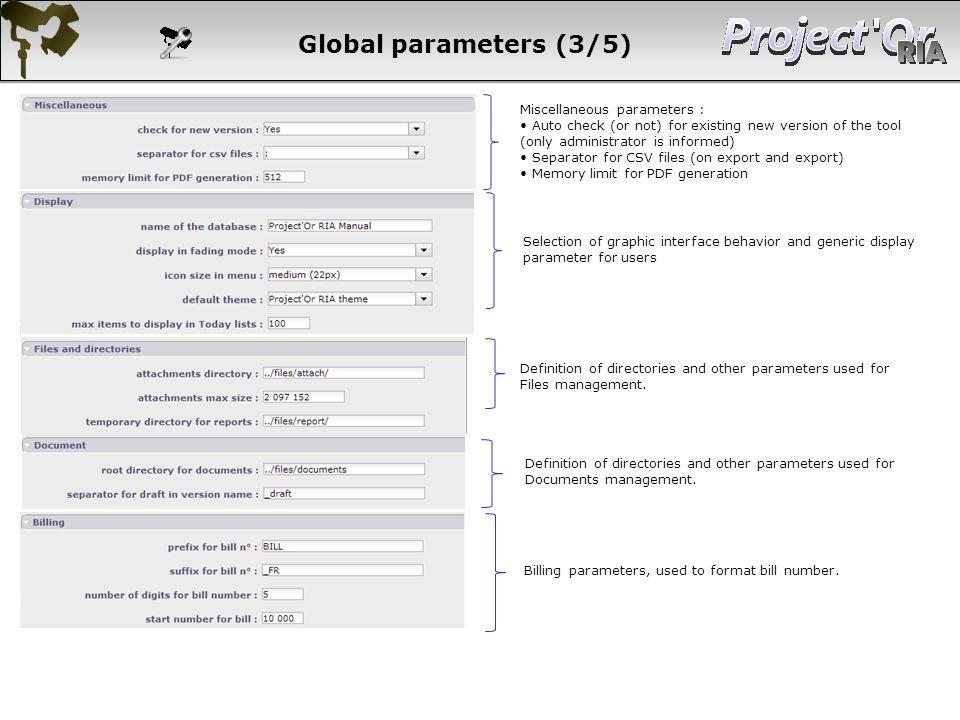 Global parameters (3/5) 179 179 179 179 179 Miscellaneous parameters :
