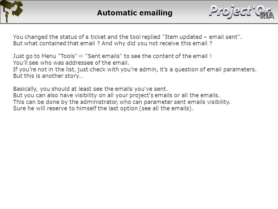 Automatic emailing
