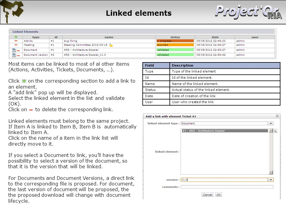Linked elements Most items can be linked to most of al other items (Actions, Activities, Tickets, Documents, …).