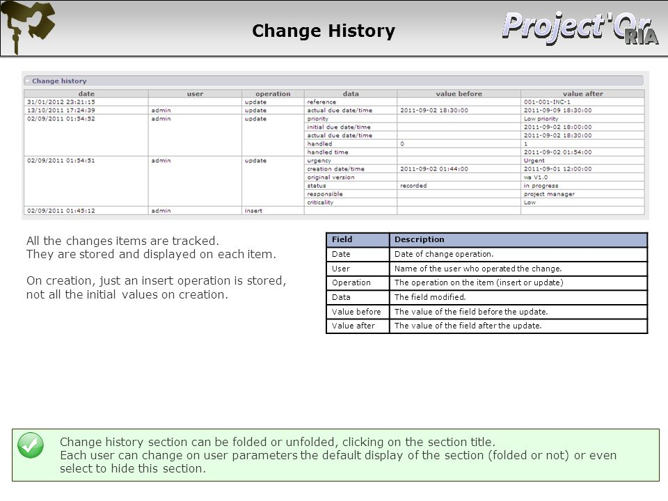 Change History All the changes items are tracked.