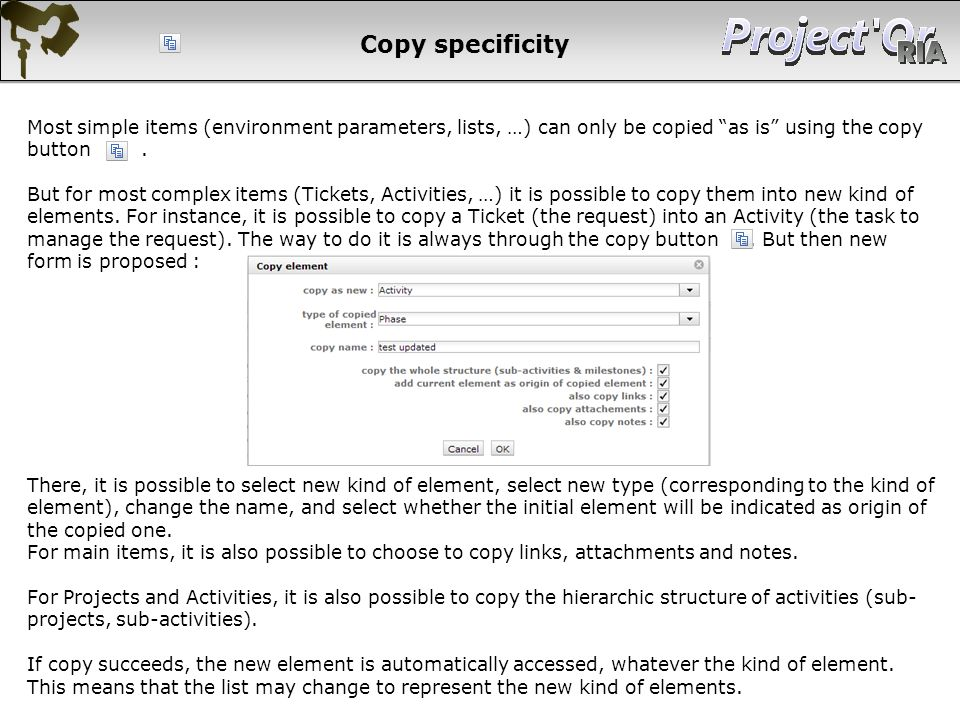 Copy specificity Most simple items (environment parameters, lists, …) can only be copied as is using the copy button .